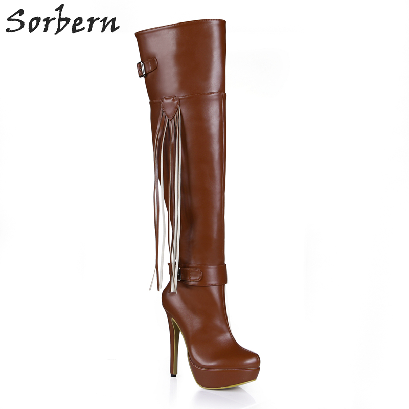 Sorbern Deep Brown Platform 14cm High Heels Boots Knee High Women Designer Pointed Shoes Womens Runway Shoe Buckle Custom Color