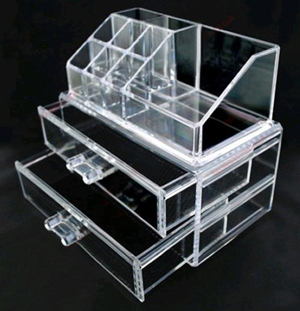 Transparent Acrylic Cosmetic Desk Makeup Organizer Case Storage 2
