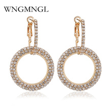 WNGMNGL High Quality Full Rhinestones Hoop Earrings For Women Girls Statement Round Circle Crystal 2018 Exquisite Gift