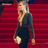 Seamyla Newest Bodycon Bandage Dress 2017 Sexy Deep V Neck Celebrity Party Dresses Women Studded Rivet