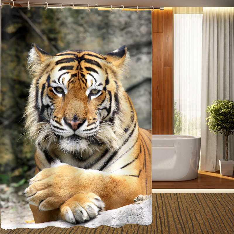 Animal Print Jungle Tiger Photos Personalized Shower Curtain Waterproof 3d