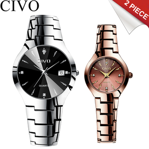 Image 2 - Civo 럭셔리 커플 시계 블랙 실버 전체 철강 방수 날짜 쿼츠 시계 남자 남자 여자 시계 연인 아내를위한 선물
