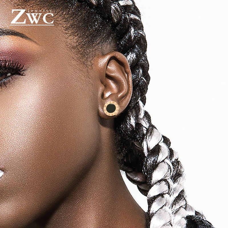 ZWC แฟชั่น Anti-allergy ไทเทเนียมเหล็กตัวเลขโรมันต่างหูสำหรับผู้ชายผู้หญิงคริสตัลสแตนเลสสตีลต่างหูเครื่องประดับ