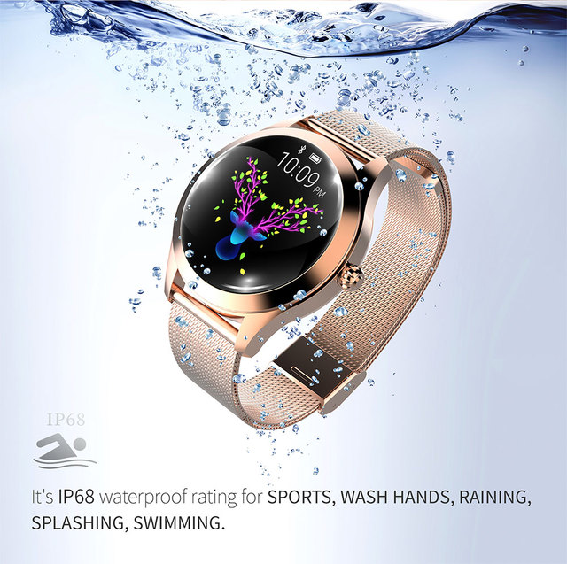 IP68 Waterproof Smart Watch Women Lovely Bracelet Heart Rate Monitor Sleep Monitoring Smartwatch Connect IOS Android KW10 band 3