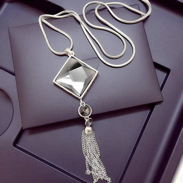 Fashion Women Pendant Necklace Square Big Drop Crystal Long Chain Sweater Tassel
