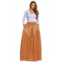Boho African Geo Print Maxi Skirt For Women Elastic Band Gathered Pocket Lady Ghana Elegant Ankara High Waist Swing Clothes