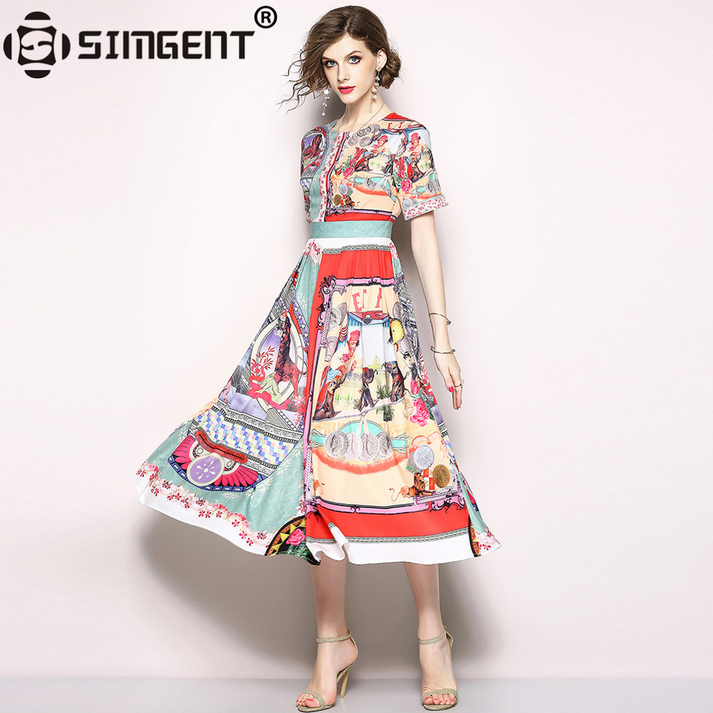 Simgent New Women Summer Vintage O-Neck Print Pleated Slim Casual Elegant Office Midi Dress Woman Cloth Vestidos Jurken SG8692