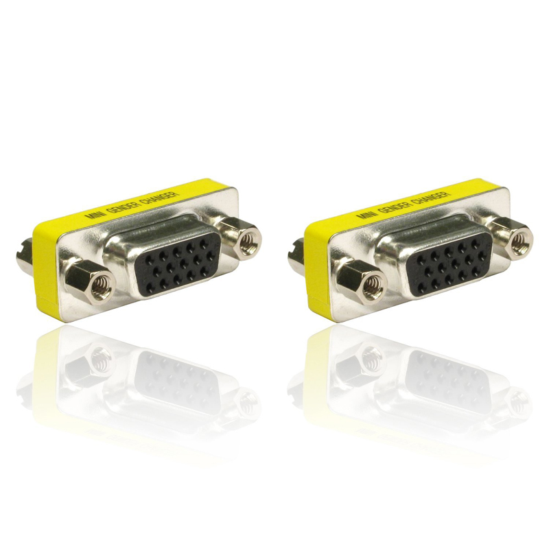 2pcs 15 Pin HD VGA/SVGA Female To Female Gender Bender Changer Adaptor Converter Swap