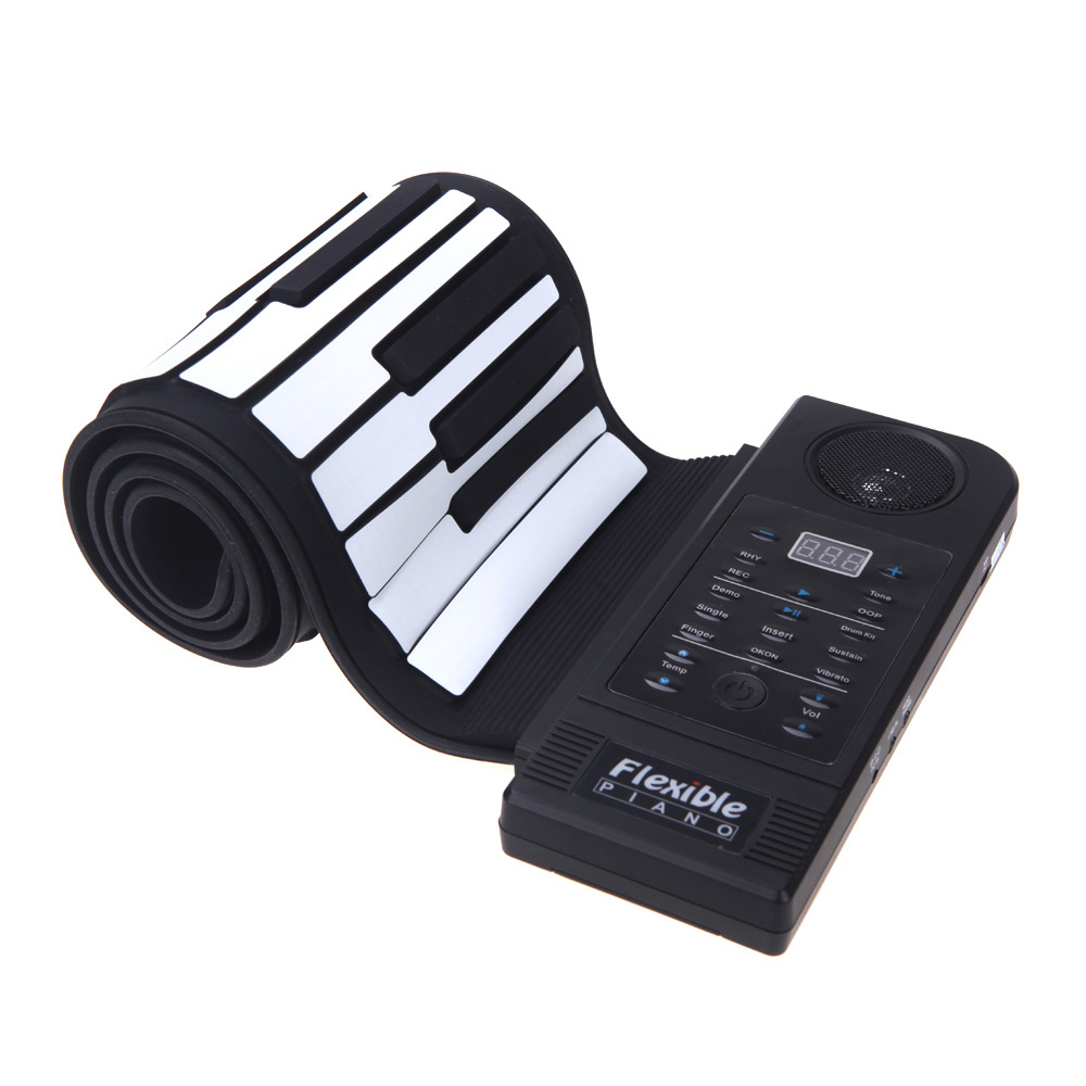 Flexible Piano 61 Keys Electronic Piano Keyboard Silicon Roll Up Piano Sustain Function USB Port with