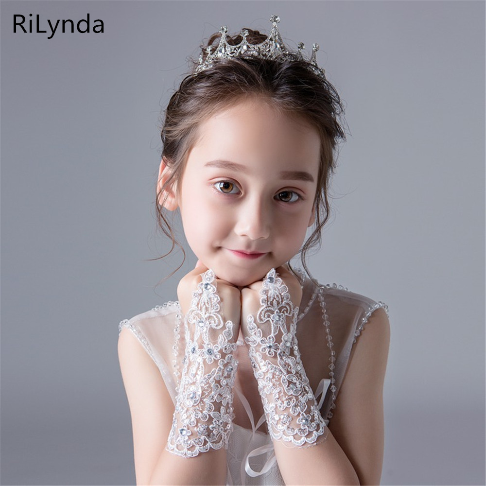 Lace-studded Children's Wedding Flower Girl Dress Gloves Fingerless Girls Show Dance Gloves Decoration