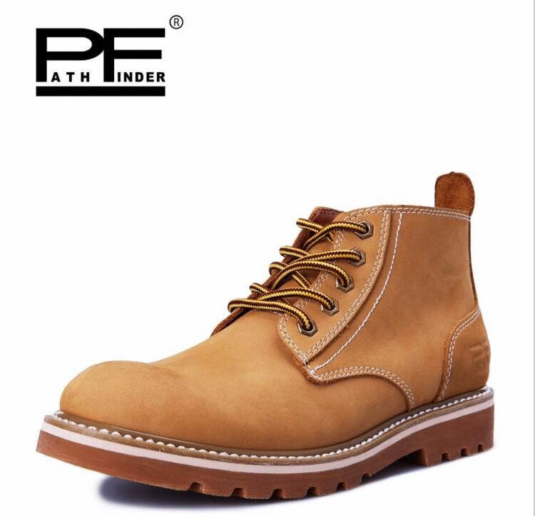 Pathfind brand Leather ankle Boots Spring Autumn Europe Style Motorcycle Martin Tooling military Boots Men Outdoor Casual Shoes pathfind luxury brand leather ankle snow boots europe style motorcycle martin tooling military boots men outdoor casual shoes