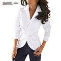 Kaigenina новинка горячая распродажа женщин с отложным воротником зубчатый рубашка свободного покроя шик леди твердые кнопка блузка 1064