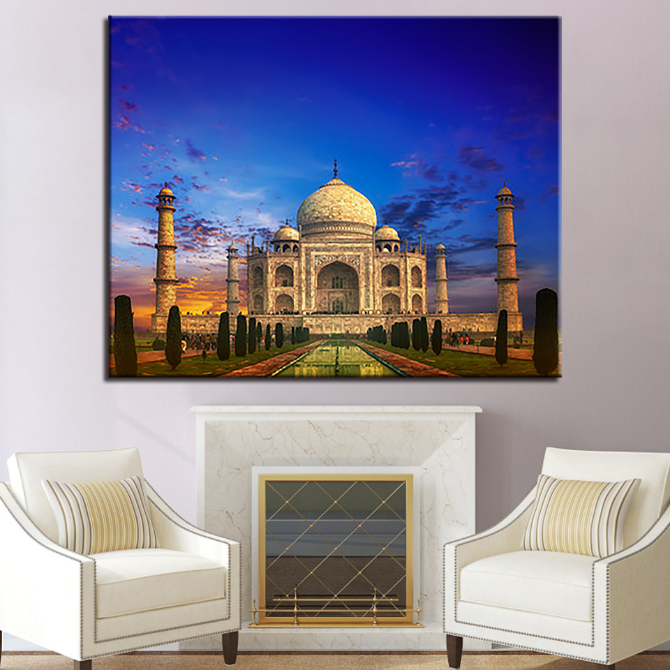 DIY Painting Framed Wall Art Home Decoration Taj Mahal Building ...