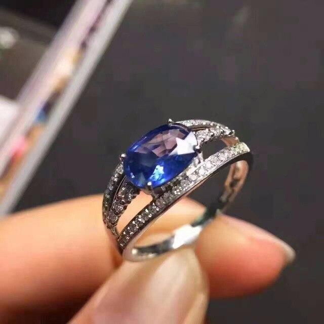 Продвижение природный танзанит кольцо 4 мм * 6 мм 0.5 карат танзанит каменное кольцо твердые 925 серебряных драгоценное кольцо романтический летию со дня рождения подарок