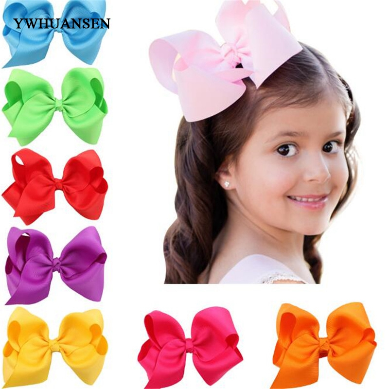YWHUANSEN 2pcs/lot 4.7Inch Grosgrain Ribbon Boutique Large Solid Bow Girls Hair Clips Kid Hairpin Children Hair Accessories 30 pcs lot 8 handmade solid large hair bow for girls kids grosgrain ribbon bow with clips boutique big hair accessories