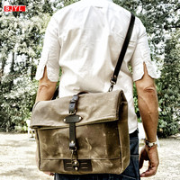 Retro waterproof canvas Men handbag leather Messenger casual men's 15 inch computer shoulder bag locomotive side crossbody bags