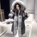 Real abrigos de piel para las mujeres natural fox cuello de piel de ganso grueso abrigo de invierno cálido de piel femenina chaqueta delgada Nueva Phoenix