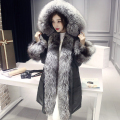 Real fur coats for women natural fox fur collar goose down coat thick warm winter female fur down jacket slim New Phoenix