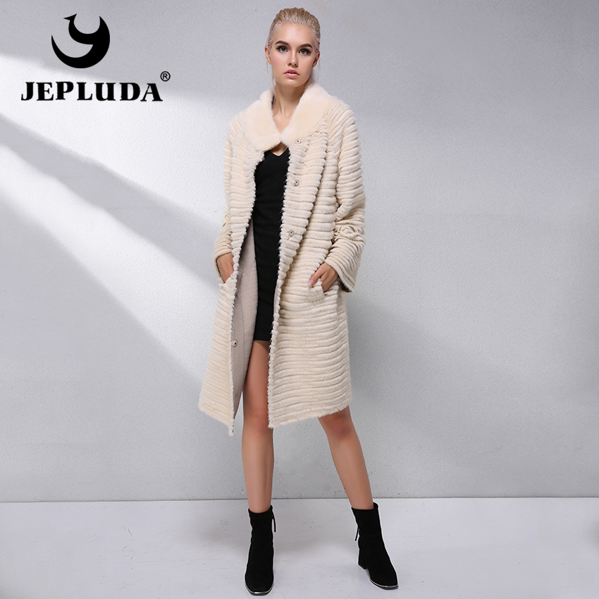 JEPLUDA Luxurious Real Fur Coat Women Soft Warm Real Fur Rex Rabbit Mink Coat Knitted Wool Blends Winter Jacket Woman Overcoat