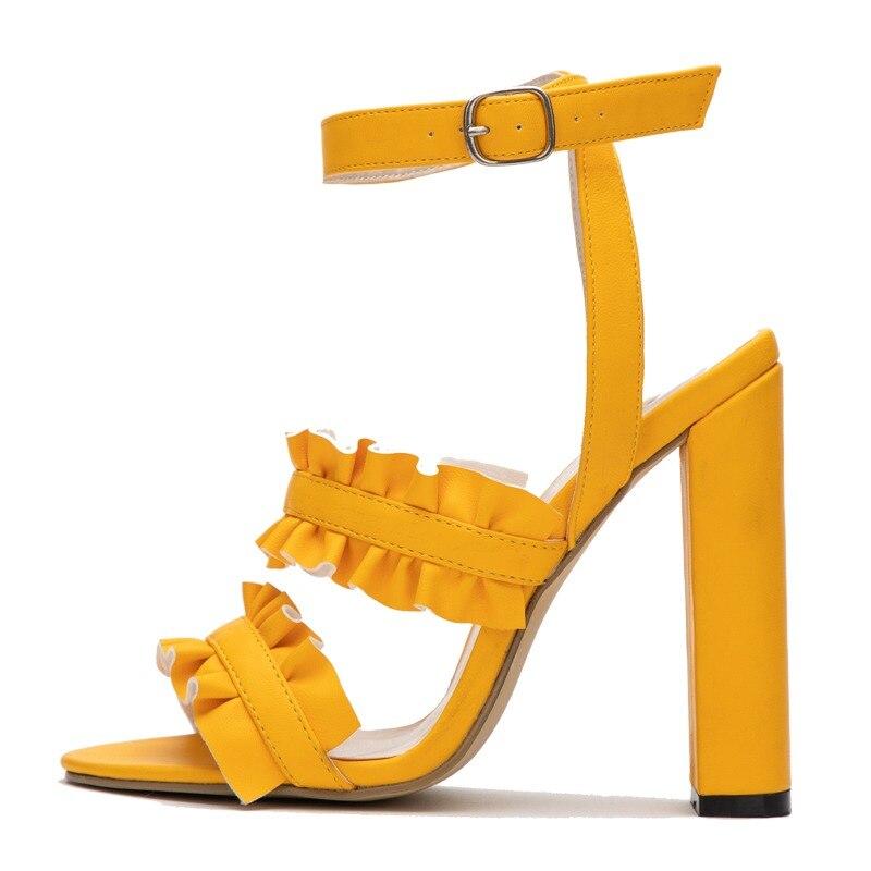 789f7b77 LALA IKAI Kobiety Ruffles Sandały PU Plac Heel Solidna Moda Klamra Panie  Pasek Na Wysokim Obcasie