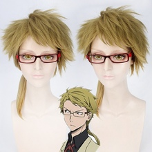 Bungo Stray Dogs Doppo Kunikida Wig Short Fluffy Straight Cosplay Wigs Light Brown Synthetic Hair Wig for Anime Party Ponytail недорого