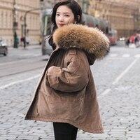 2017 г. женские зимние вельветовые куртки верхняя одежда короткие дизайнерские теплые парки пальто большой натуральным мехом енота ватные Бо