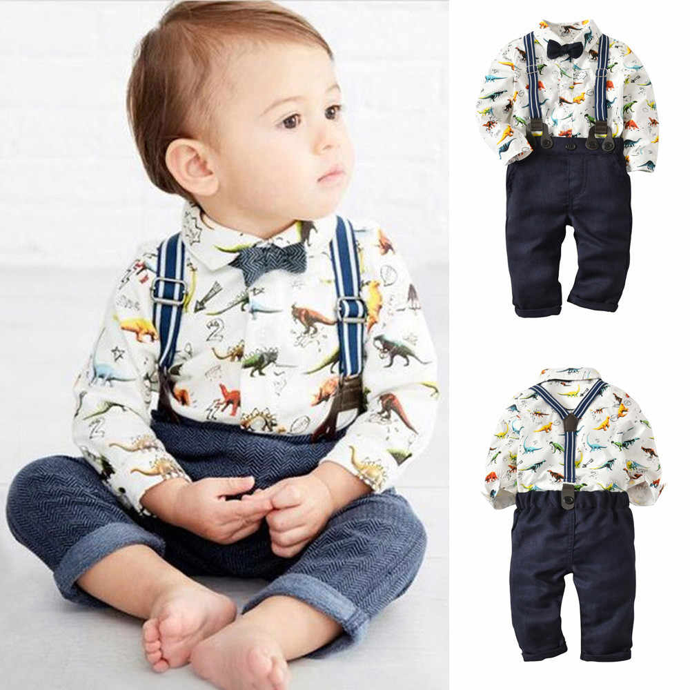 Baby Clothes Toddler Baby Boys Dinosaur Gentleman Bowtie Shirt Romper+Suspenders Pants Set Boy Suit For Weddings Prom Enxoval