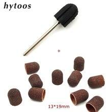 13*19mm 10pcs Sanding Bands Block Caps + Rubber Mandrel Grip Manicure Pedicure Tools Electric Nail Drill Polishing Accessories