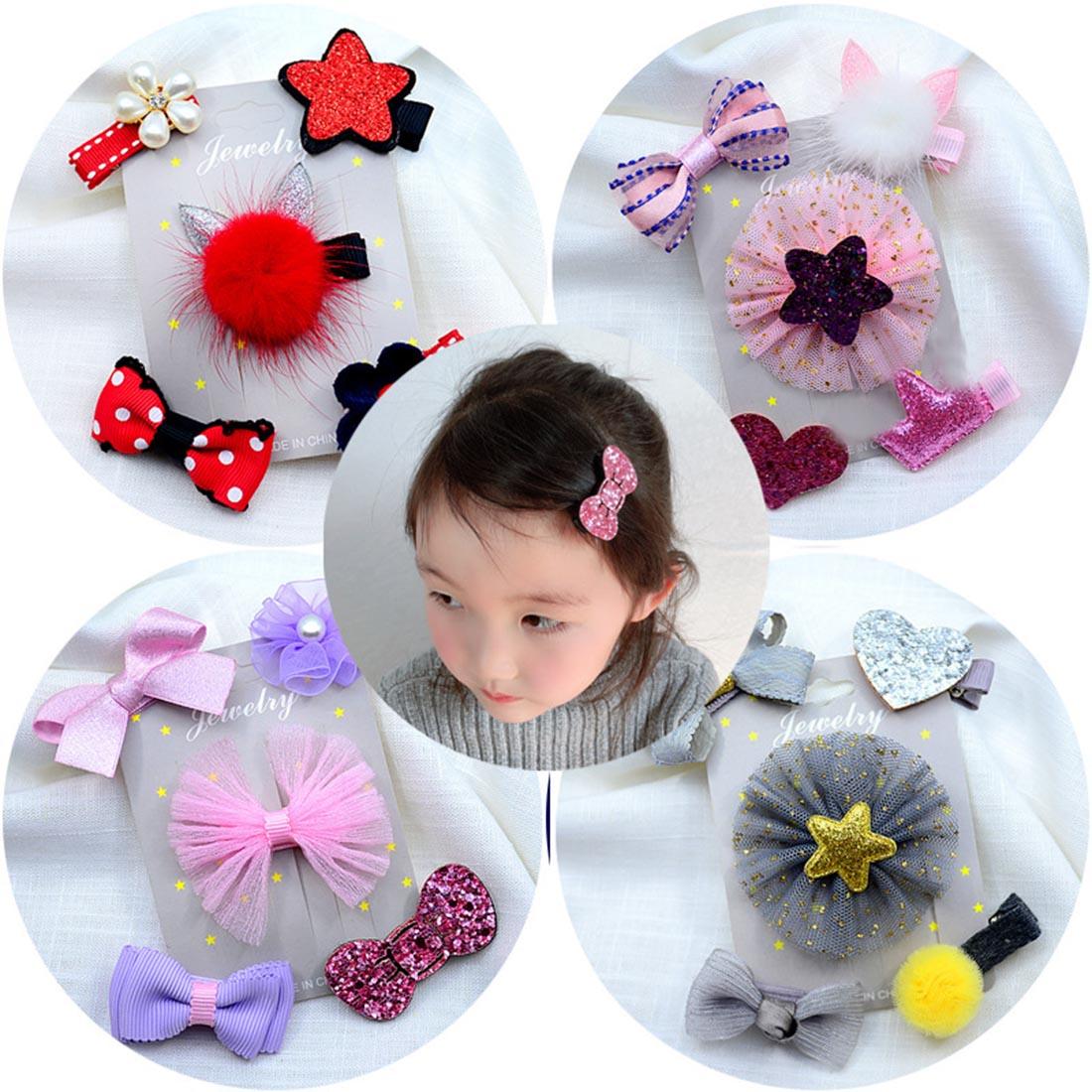 1 set of 5pcs fabric cartoon bow hairpin card holder Kit birthday gift box
