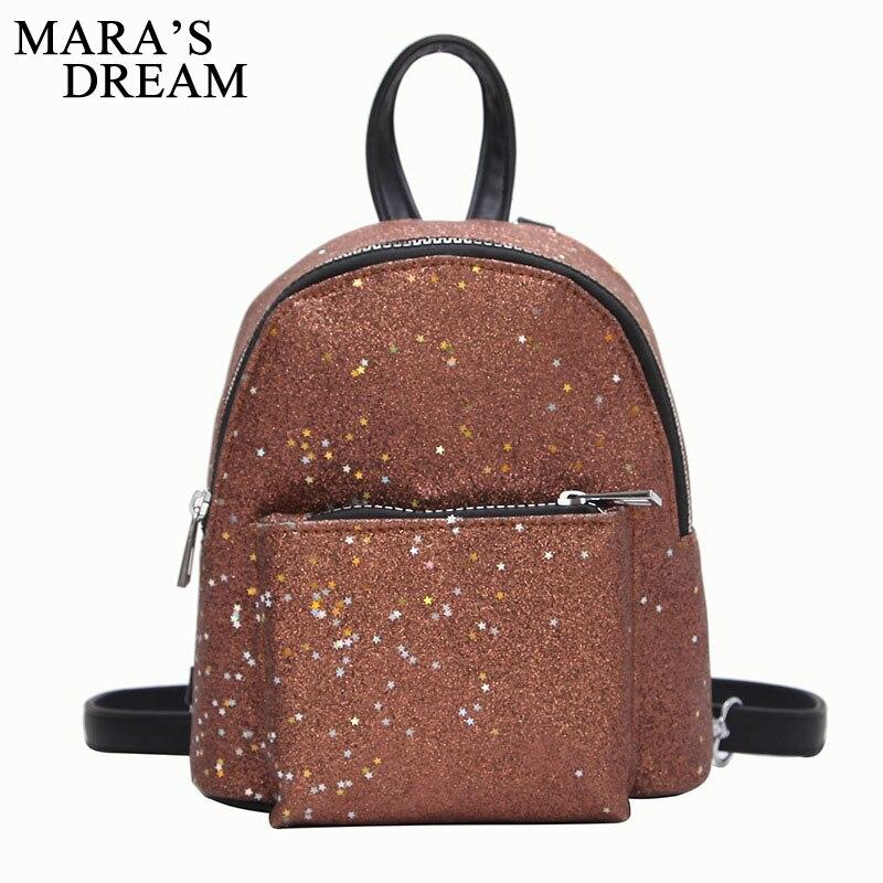 Maras Dream 2018 Womens Sequins PU Leather Backpack Children Backpacks Mini Bag Fashion Small Back Pack for Teenage Girls Bags