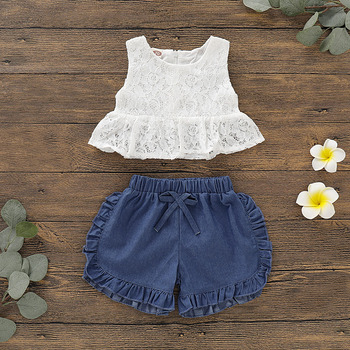 Emmababy Summer Newest Newborn Baby Girl Clothes Sleeveless Lace Flower Tops Ruffle Denim Shorts 2Pcs Outfits Summer Clothes 1