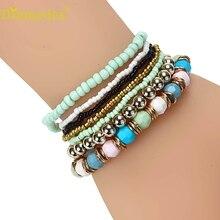 Diomedes HOT Fashion 7PCS/Set Women Multilayer Acrylic Beads Bangle Bracelets Beach,Luxury and Casual Bracelet