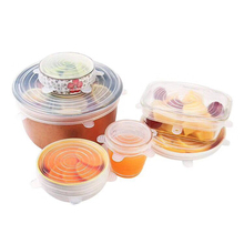 6pcs/set Reusable Bowl Cover Silicone Vacuum Sealer Stretchable Food Fresh Keeping Dishes Pan Cup Cover Lids Kitchen Accessories