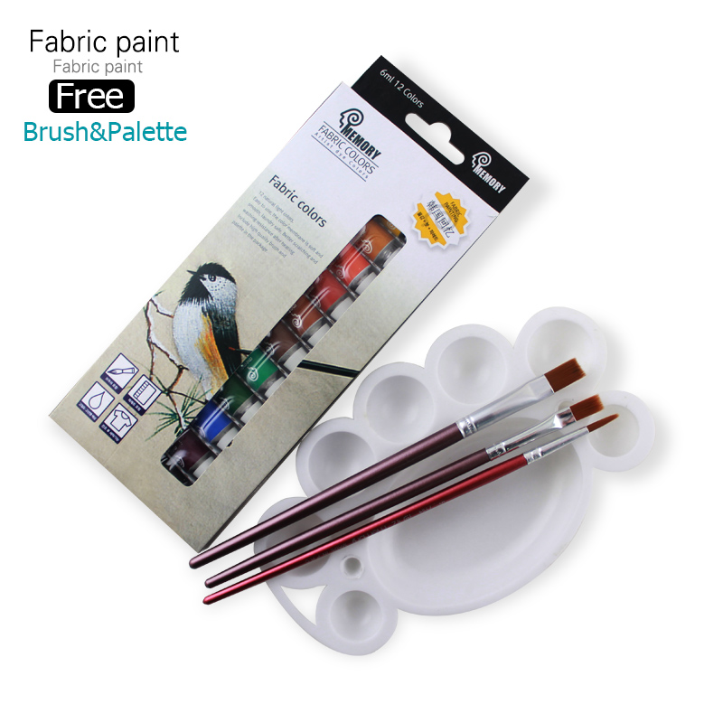 Memory Brand professional Textile Fabric Paint set Non Toxic Tube 12 Colors acrylic paint for artists free offer paint brush
