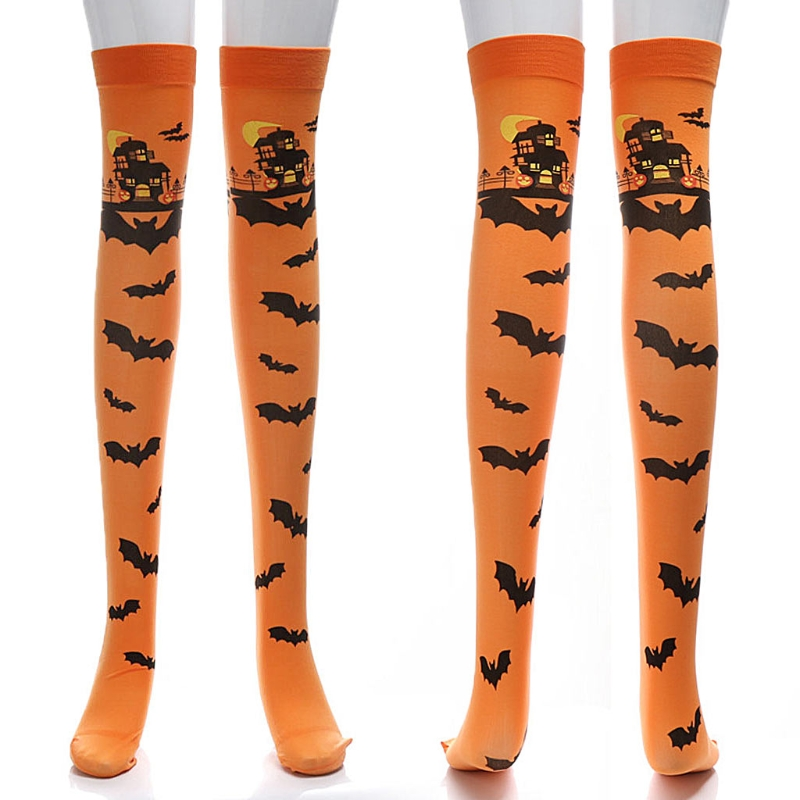 Halloween Carnival Scary Castle Bat Thigh High Stockings Long Socks Cosplay Soft