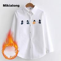 Mikialong 2017 Winter Fleece Warm White Shirt Women Casual Long Sleeve Blouse Femme Vintage Turn Down