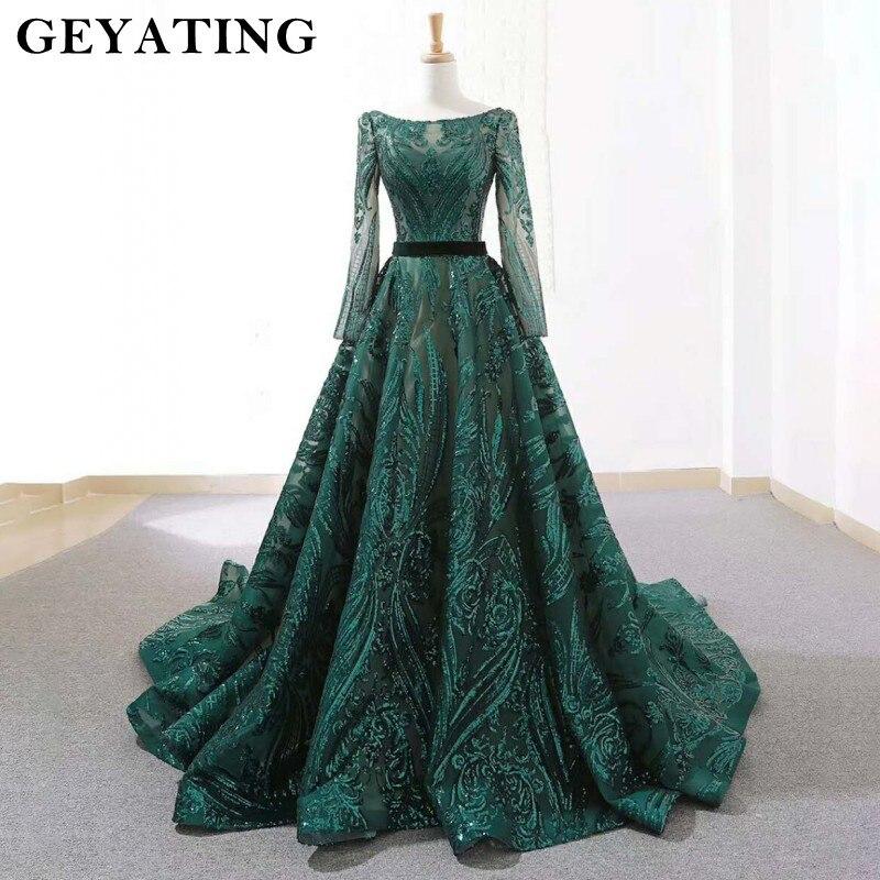 Image 2 - Emerald Green Sequined Long Sleeves Evening Dress 2020 Saudi Arabic Muslim Women Formal Gowns Dubai Kaftan Vestidos de festaEvening Dresses   -
