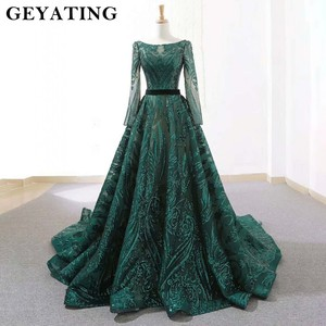 Image 2 - Emerald Green Sequined Long Sleeves Evening Dress 2020 Saudi Arabic Muslim Women Formal Gowns Dubai Kaftan Vestidos de festa