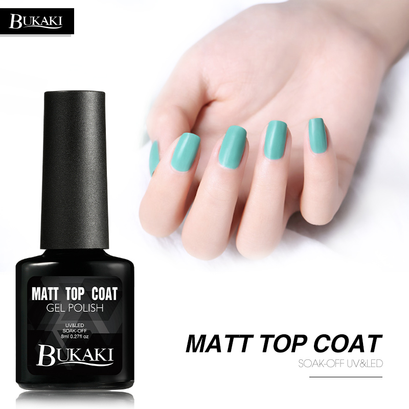 Bukaki Matte Top Coat Gel Nail Polish Surface No Light