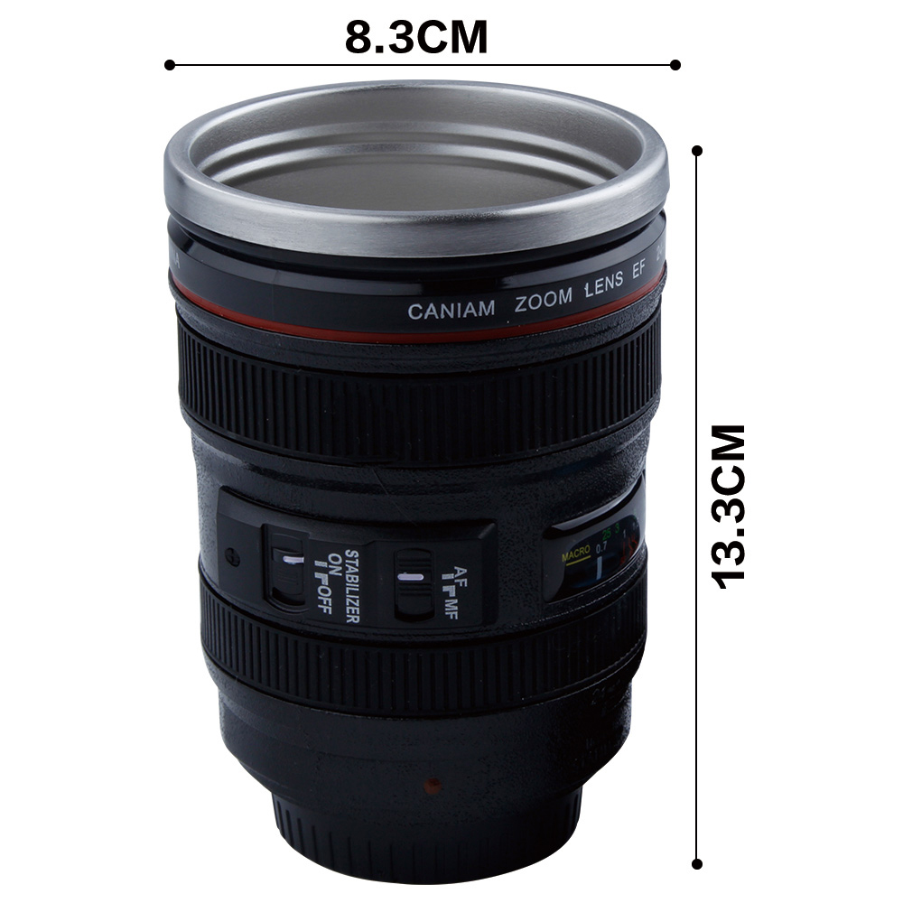 492fd5384c7 400ml Stainless Steel Camera Lens Mug With Lid New Fantastic Coffee Mugs Tea  Cup Novelty Gifts Caneca Lente Cups Drinkware