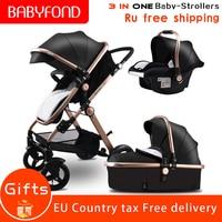 RU Быстрая доставка! Золотая детская коляска прогулочная детская коляска 3 в 1 с автомобильным сиденьем 2 в 1 детская коляска
