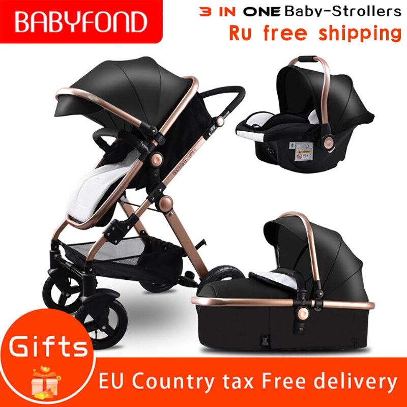 RU darmowa wysyłka! Złoty wózka dziecięcego wysokiej krajobrazu samochody dla dzieci 3 w 1 wózek dziecięcy z siedzeniem samochodowym 2 w 1 wózek dla dziecka