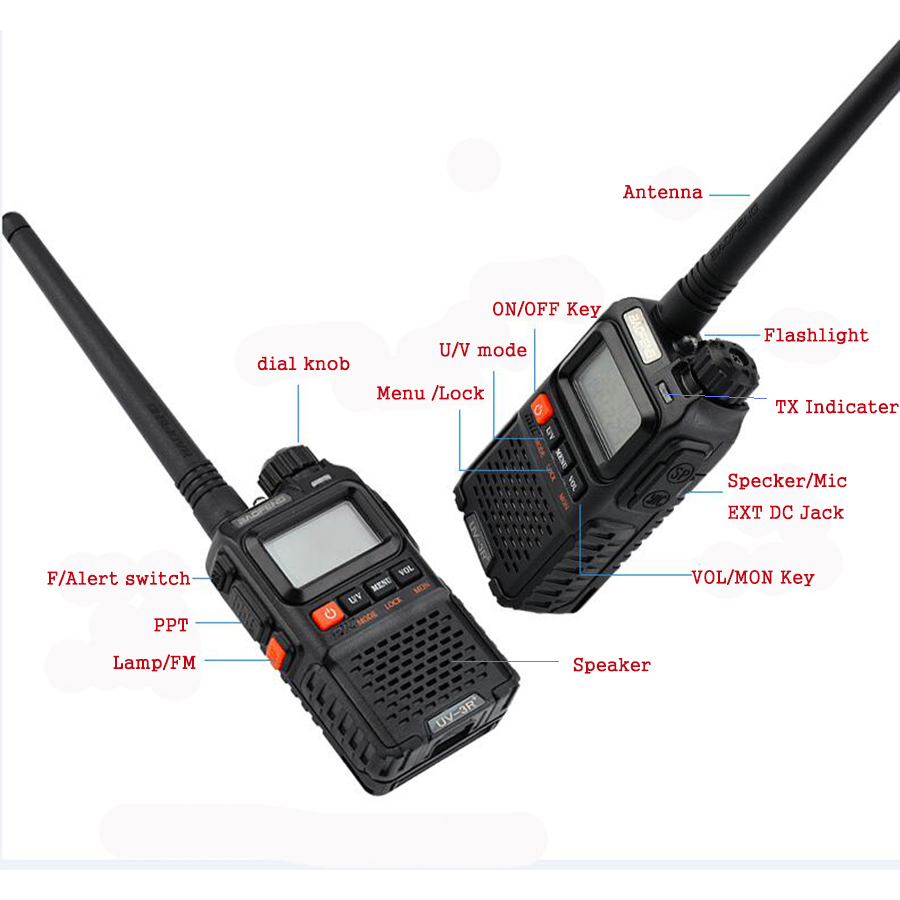 Image 2 - 2 PCS Baofeng UV 3R Plus Mini Walkie Talkie CB Ham VHF UHF Radio Station Transceiver Boafeng Amador Communicator Woki Toki PTT-in Walkie Talkie from Cellphones & Telecommunications