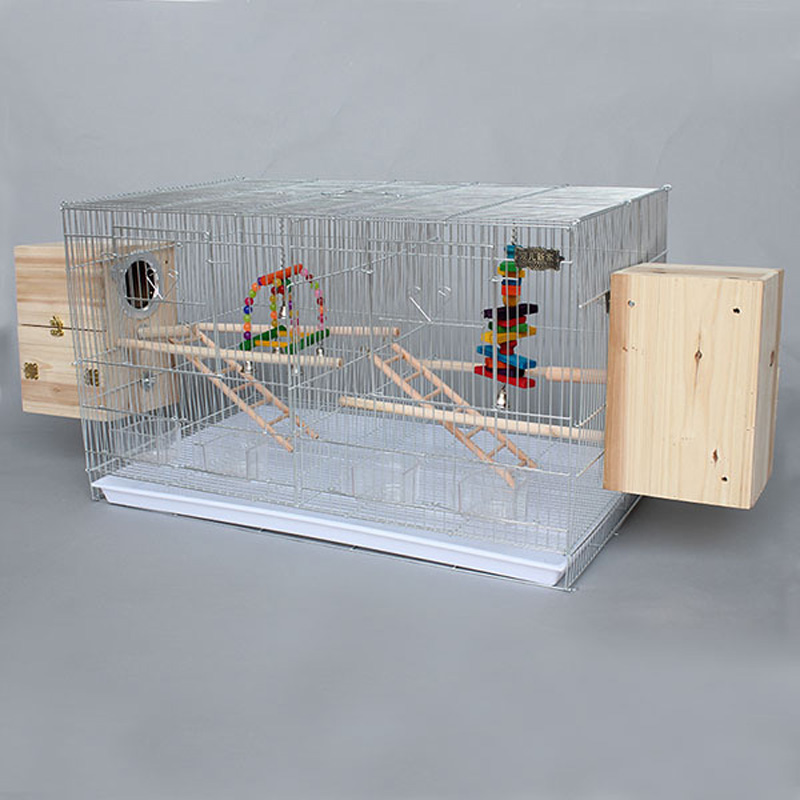 Iron Metal Bird Parrot Cage With Feeding Cups Wooden ...