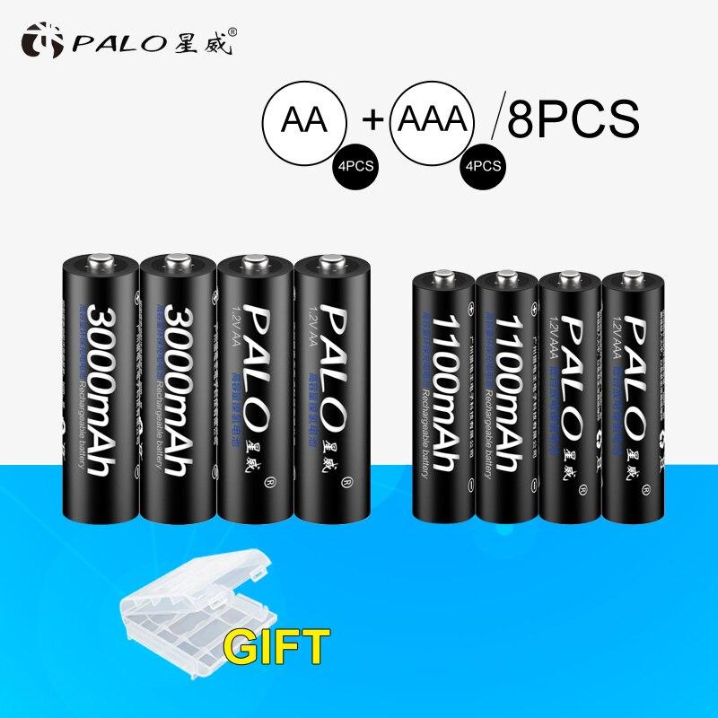 PALO 4 piezas 1,2 V 3000 mAh AA baterías + 4 piezas 1100 mAh AAA baterías NI-MH AA/AAA batería recargable