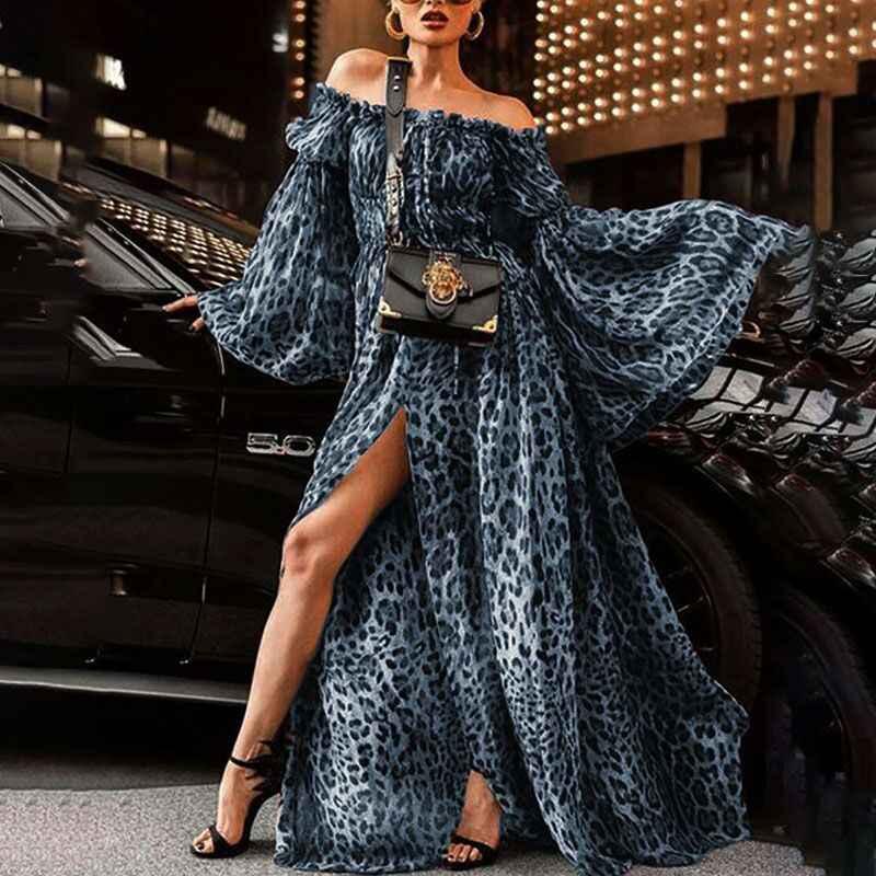 ZOGAA נשים הדפס מנומר קיץ שמלת 2019 סקסי סלאש צוואר פיצול מקסי ארוך ערב מסיבת שמלות מקרית Vestidos בתוספת גודל XXXL