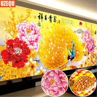 UzeQu Special Shaped Diamond Embroidery Full 5D DIY Diamond Painting Peacock Peony Cross Stitch 3D Diamond Mosaic Painting Decor