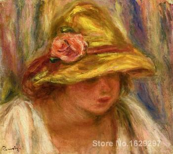 oil painting art gallery Study of a Woman in a Yellow Hat by Pierre Auguste Renoir reproduction Canvas Handmade High quality