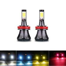 Автомобильные светодиодные лампы, противотуманные фары, двухцветные фонари для автомобилей H3, H8, H11, 9005, HB3, HB4, 9005, 9006, H27, 880, 881, 6000k, белый, синий,...