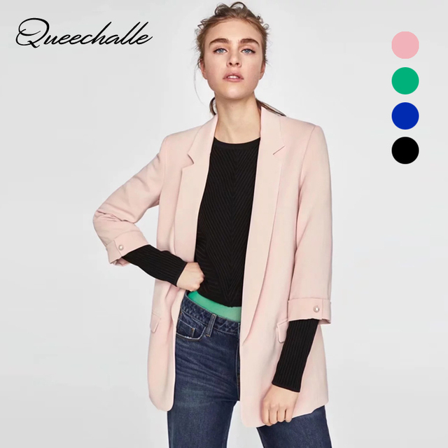 Queechalle New 2018 Autumn Coat Women's Blazer Office Lady Rolled Sleeve Notched Open Front Suit Jacket Female Solid Outerwear